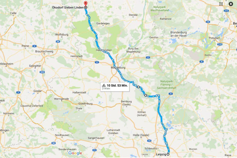 von Leipzig nach Sieben Linden